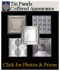 create a ceiling with coffered tin panels